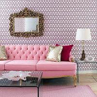 Brandon Barre Photography - living rooms - pink sofa, french sofa, tufted sofa, pink tufted sofa, pink french sofa, hicks wallpaper, hex wallpaper, pink hex wallpaper, pink hexagon wallpaper, acrylic end tables, acrylic coffee table, metallic pillows, ornate mirror, pink rug,