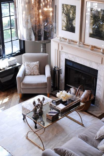 Gray Velvet Chair Contemporary Living Room