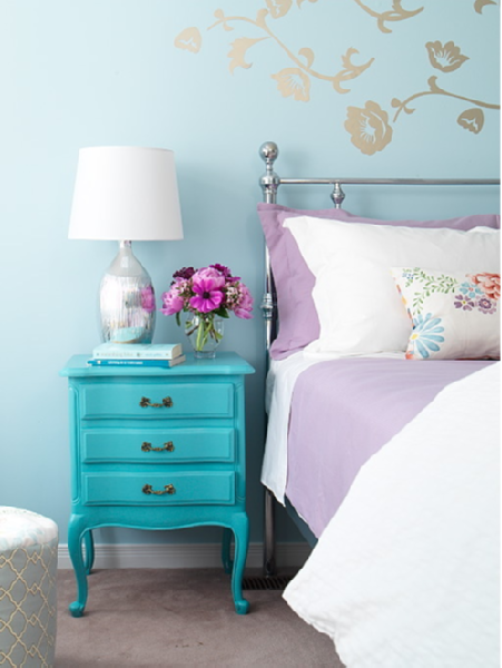 Turquoise Nightstand, Contemporary, bedroom, Margot Austin