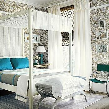 House to Home - bedrooms - canopy bed, white canopy bed, canopied bed, white canopied bed, turquoise pillows, turquoise silk pillows, gray bench, gray and turquoise bedding,