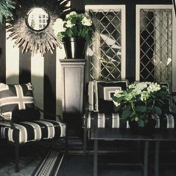 Mary McDonald - porches - Ralph Lauren - Bone Black - black and white chair, black and white accent chair, black and white striped accent chair, stripe wall, striped wall, black and white striped wall, white and black striped wall, black and white patio,
