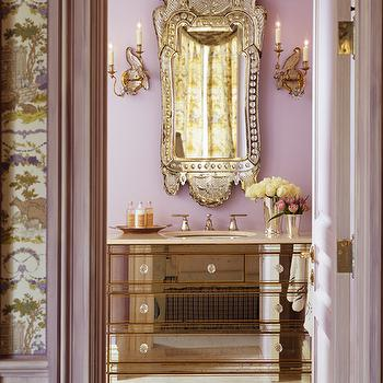 Kendall Wilkinson Design - bathrooms - mirrored bathroom vanity, mirrored vanity, lavender bathroom, lavender walls,  Mirrored bath vanity, venetian