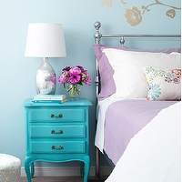 Margot Austin - bedrooms - blue, painted, nightstand, blue, walls, silver, lamp, bed, violet, bedding, blue, lilac, bedroom,  Turquoise blue