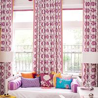Amanda Nisbet Design - girl's rooms - pink, drapes, pink, lantern, pendant, white, sofa, glass, stacked, ball, lamp, yellow, accent, table, pink, roman, shades, brown, pink, striped, rug, Silver Moroccan Pouf,