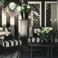 Mary McDonald - porches - Ralph Lauren - Bone Black - black, white, porch, sunburst, striped, walls, black and white chair, black and white accent chair, black and white striped accent chair, stripe wall, striped wall, black and white striped wall, white and black striped wall,