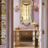 Kendall Wilkinson Design - bathrooms - material girls, mirrored, gold trim, bathroom, vanity, ornate, rococo, mirror, sconces, violet, mirrored bathroom vanity, mirrored vanity,
