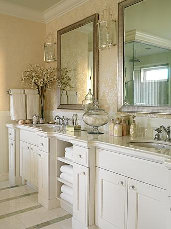 Sarah Richardson Design - bathrooms - antique, silver, beveled, mirrors, gold, yellow, romo, sappporo, oval, wallpaper, silver, sconces, lanterns, crown molding, marble, countertops, nickel, faucets, white, bathroom, cabinets, glass, knobs, hardware, marble, tiled, floors,