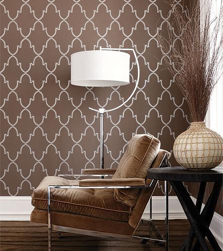 Modern Trellis Wallpaper: Brown Trellis Wallpaper