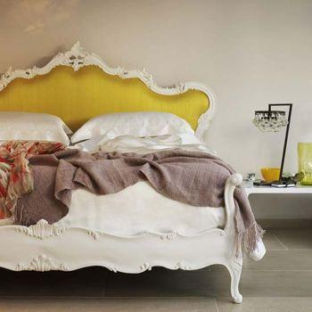 Living Etc - bedrooms - franchesca bed, yellow headboard, yellow rococo headboard, french bed, yellow french bed,  Yellow rococo headboard