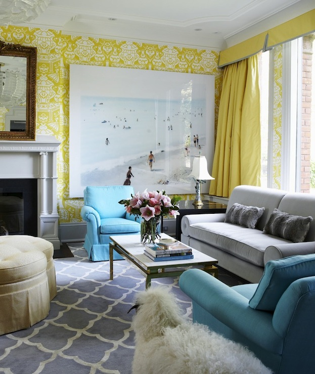 Philip Gorrivan Design - living rooms - The Vase Wallpaper by David Hicks, trellis rug, gray trellis rug, white and gray trellis rug, blue chair, blue velvet chair, yellow curtains, yellow drapes, yellow window panels, yellow silk curtains, yellow silk drapes, turquoise chairs, turquoise blue chairs, the vase wallpaper, david hicks wallpaper, yellow valance, yellow silk valance, silk valance,