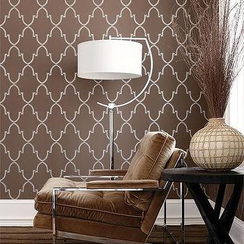 Brown Trellis Wallpaper, Contemporary, living room, Thibaut Design