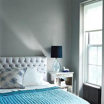 Gray and Blue Bedroom, Contemporary, bedroom, Domino Magazine
