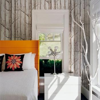 Ghislaine Vinas Interior Design - bedrooms - orange headboard, orange wingback headboard, woods wallpaper, Anthropologie Woods Wallpaper,  Orange