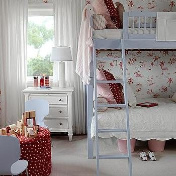 Sarah Richardson Design - girl's rooms - blue bunk beds, light blue bunk beds, girls bunk beds, red and blue girls room, red and blue girls bedroom, bunk bed ladder, red and pink pillows, scalloped blankets, scalloped bedding,