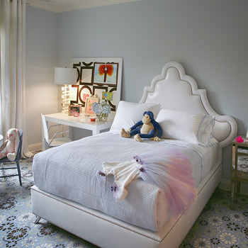 Robyn Karp Interiors - girl's rooms - girls room, chic girls room, chic girls bedroom, girls room, girls bedroom, white headboard, mismatched nightstands, mirrored nightstands, desk as nightstand, desk nightstand, white parsons desk, blue walls,