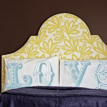 Country Living - bedrooms - yellow headboard, white and yellow headboard, love pillow cases, purple blanket, Love Pillows,  Yellow floral headboard