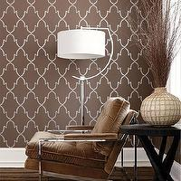 Thibaut Design - living rooms - brown wallpaper, white and brown wallpaper, brown trellis wallpaper, white and brown trellis wallpaper, thibaut wallpaper, thibaut trellis wallpaper, brown chair, brown velvet chair, brown tufted chair, brown velvet tufted chair,