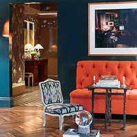 Miles Redd - living rooms - peacock blue, peacock blue walls, peacock blue lacquer walls, peacock blue wall paint, peacock blue paint colors, orange sofa, orange bench, orange tufted sofa, orange tufted bench, ikat chair, herringbone floor, herringbone wood floors,