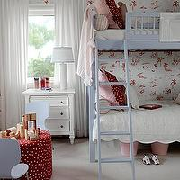 Sarah Richardson Design - girl's rooms - white, pink, Thibaut, wallpaper, blue, bunk, beds, white, bedding, striped, pink, polka dot, red, pillows, pink, buckets, white, dresser, white, lamp, white, drapes, red, polka, dot, storage, ottoman, blue, plastic, chairs, gray, carpet, red, blue, pink, girl's room,