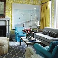 Philip Gorrivan Design - living rooms - trellis rug, gray trellis rug, white and gray trellis rug, blue chair, blue velvet chair, yellow curtains, yellow drapes, yellow window panels, yellow silk curtains, yellow silk drapes, turquoise chairs, turquoise blue chairs, the vase wallpaper, david hicks wallpaper, yellow valance, yellow silk valance, silk valance, The Vase Wallpaper by David Hicks,