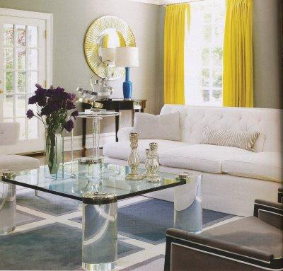 Modern Curtains  Living Room on Living Rooms   Yellow Drapes  Yellow Curtains  Lucite Coffee Table