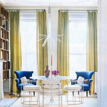 Fawn Galli Interiors - living rooms - chartreuse curtains, chartreuse drapes, chartreuse silk curtains, chartreuse silk drapes, blue chair, blue velvet chair,