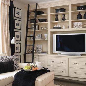 House & Home - media rooms - entertainment center, built in entertainment center, built in media cabinets, cream built ins, cream built in cabinets, living room built ins, living room built in cabinets,