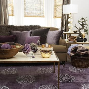 Brown velvet couch transitional living room for Brown and purple living room ideas