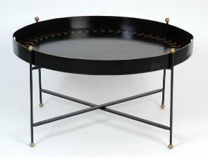 WellAppointedHouse. Reversible Tole Tray Table, Black with Gold Laurel Leaf