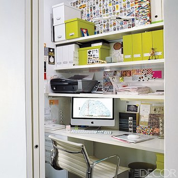 Elle Decor - dens/libraries/offices: office nook, closet office, office in closet, closet desk, desk in closet, closet work space, work space in closet, closet converted into office, converted closet office, converted office closet, closet transformed into office, closet turned office,