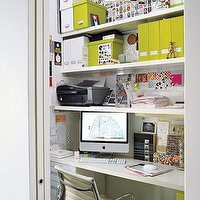 Elle Decor - dens/libraries/offices - office nook, closet office, office in closet, closet desk, desk in closet, closet work space, work space in closet, closet converted into office, converted closet office, converted office closet, closet transformed into office, closet turned office, Eames Management Chair,