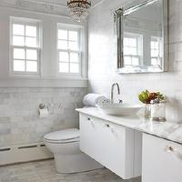House & Home - bathrooms - marble, countertops, floors, backsplash, modern, white, floating, double, vanities, white, porcelain, vessel, sinks, glass, knobs, hardware, square, beveled, mirror, antique, crystal, chandelier, bathroom, calcutta gold marble, calcutta gold, calcutta gold marble subway tile, calcutta gold marble bathroom, calcutta gold marble subway tile bathroom,