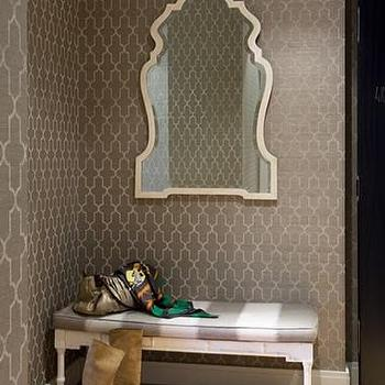 Sally Steponkus Interiors - entrances/foyers - gray walls, trellis wallpaper, gray trellis wallpaper, moroccan wallpaper, gray moroccan wallpaper, quatrefoil wallpaper, gray quatrefoil wallpaper, moorish tile wallpaper, gray moorish tile wallpaper, foyer bench, striped bench, white and gray bench, white and gray striped bench. foyer mirror, foyer wallpaper, wallpaper for foyer,