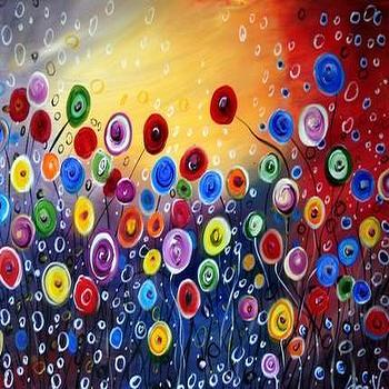Art/Wall Decor - GARDEN of the SUN 36''X24'' CUSTOM PAINTING by LUIZAVIZOLI - oil painting, decor, flowers, canvas