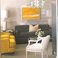 Kelly Wearstler - living rooms - gray and yellow rooms, yellow and gray rooms, yellow and gray living rooms, gray and yellow living rooms, gray couch, yellow chairs, mustard yellow chairs, metallic wallpaper, damask wallpaper, silver damask wallpaper, silver metallic wallpaper, metallic silver wallpaper,