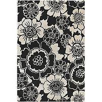 Rugs - Hand-tufted Contemporary Rojan Collection Rug (7'9 Round) | Overstock.com - rug, floral, flower, contemporary, black. white