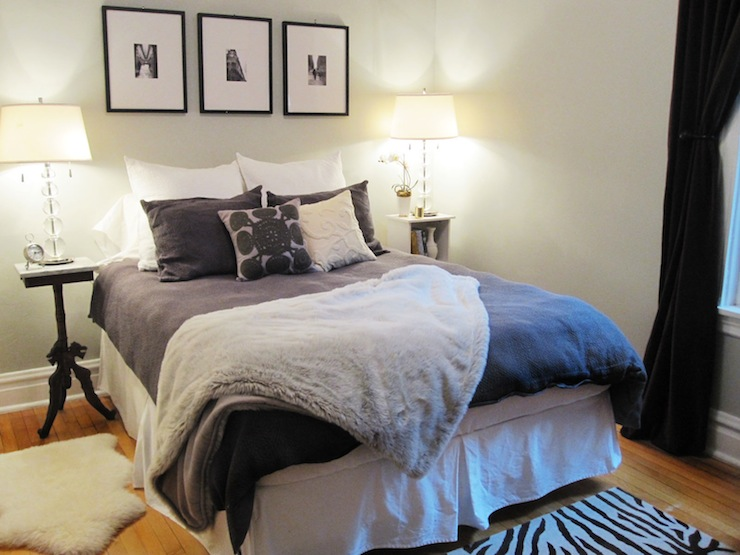 Gray Faux Fur Throw Blanket Transitional Bedroom