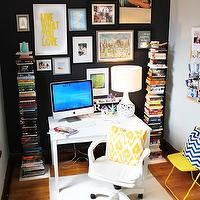 Live Creating Yourself - dens/libraries/offices - black wall, accent wall, black accent wall, office accent wall, vertical bookcase, white desk, bookcases flanking desk, West Elm Spine Bookcase, Chevron Pillow,