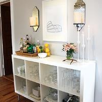 Live Creating Yourself - dining rooms: Ikea, Expedit, white, bar, buffet, West Elm, mirrored, sconces, Ikea, Blomster, candlesticks, gray walls, paint color, dining room, gray walls, gray paint, gray paint colors,