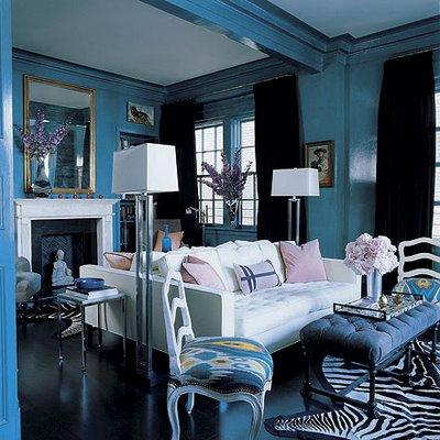 Back to back sofas eclectic living room miles redd for Black white and blue living room ideas