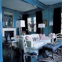 Miles Redd - living rooms - turquoise, walls, paint, color, white, tufted, sofa, blue, tufted, bench, chrome, floor, lamps, fireplace, silver, nesting, tables, white, black, zebra, cowhide, rug, black, velvet, drapes,
