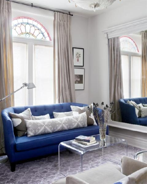 Indisgo blue sofa contemporary living room farrow Farrow and ball skimming stone living room