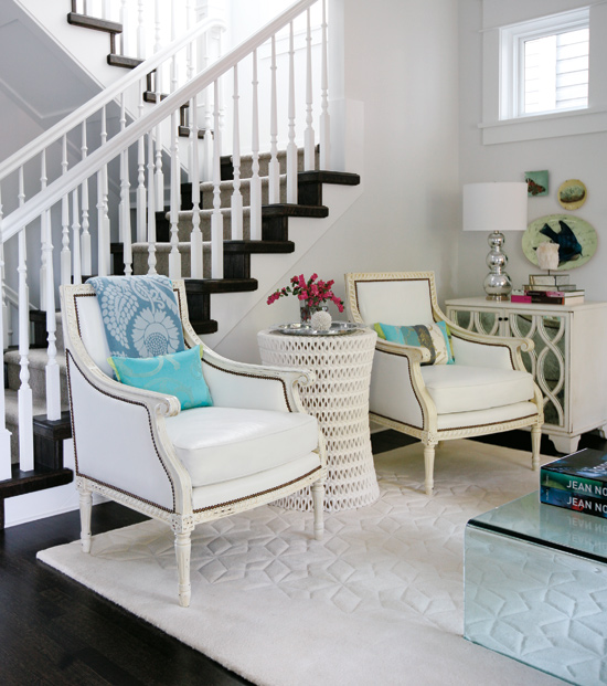 Bergere Chairs, Contemporary, living room, Benjamin Moore Pure White, Style at Home