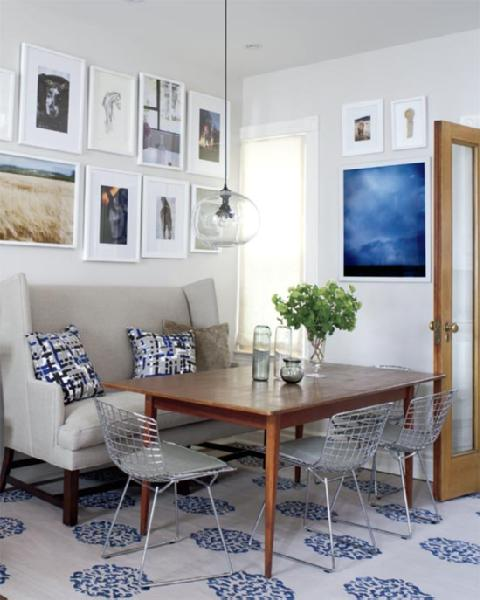 Style at Home - dining rooms - Farrow & Ball - Skimming Stone - Bertoia Chair, Dwell Studio Painted Tweed Pillow, Madeline Weinrib beige & Blue Mandala Rug, gray, wingback sofa, settee, bertoia, wire, chairs, cushions, farmhouse dining table, glass globe pendant, photo gallery, white, roller shade, wingback settee, gray settee, gray wingback settee, dining room settee, dining room wingback settee,