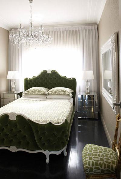 Greg Natale - bedrooms - army, green, velvet, tufted, french, rococo, bed, mirrored, nightstands, glass, lamps, mirror, bed in front of window, green, beige, tan, bedroom, bed in front of window, beds in front of window,