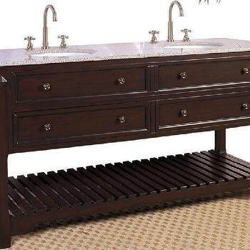 Double Vanity in Coffee Bean Finish w Slat Shelf, Counter & 2 Sinks