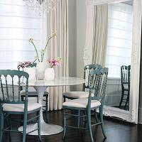 Style at Home - dining rooms - Benjamin Moore - Pure White - white, marble, saarinen, tulip, dining table, painted, blue, dining chairs, white, ornate, floor mirror, ivory, drapes, crystal, chandelier, white vases, espresso, wood, floors, gray, blue, dining room,