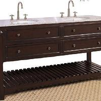 Bath - Double Vanity in Coffee Bean Finish w Slat Shelf, Counter & 2 Sinks - double, bathroom, vanity
