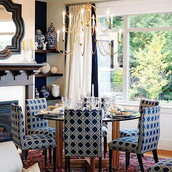 Sarah Richardson Design - dining rooms - dining room, dining chairs, navy blue chairs, navy blue dining chairs, garden lattice fabric, navy garden lattice, navy garden lattice fabric, navy blue garden lattice, round dining table, quatrefoil mirror, black quatrefoil mirror, ivory and navy curtains, ivory and navy drapes, , Waverly Lattice Fabric,