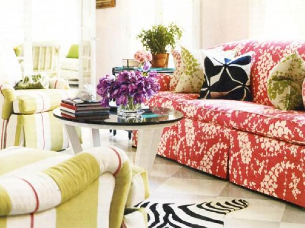 Patterned Sofa Eclectic Living Room House Beautiful